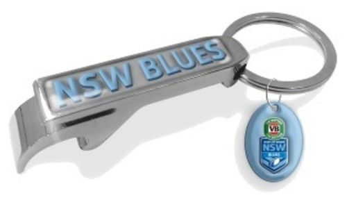 Licensed NRL State of Origin Bottle Opener Keyring with Charm - NSW Blues