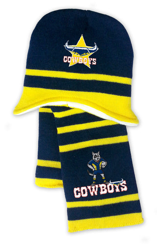 NRL Kids Beanie and Scarf Set - North Queensland Cowboys