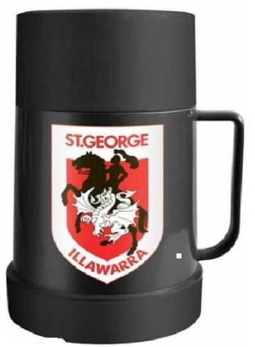 Licensed NRL Plastic Thermos Team Flask with Cup - St George Illawarra Dragons