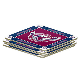 NRL Set of 4 Cork Drinking Coasters - Manly Sea Eagles
