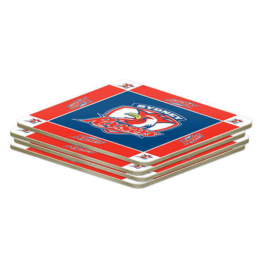 NRL Set of 4 Cork Drinking Coasters - Sydney Roosters