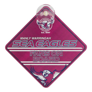 NRL Manly Sea Eagles Supporters Car Sign