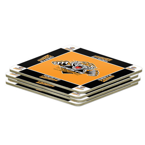 NRL Set of 4 Cork Drinking Coasters - Wests Tigers