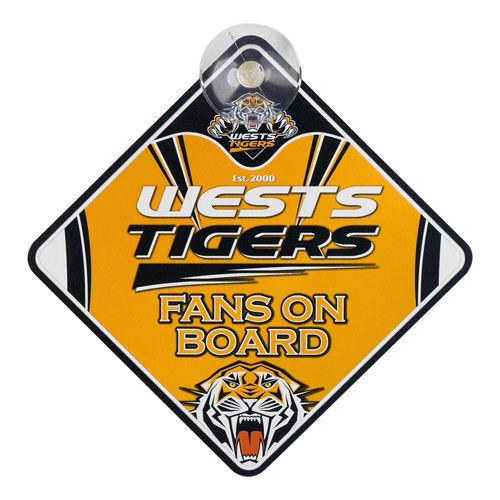 NRL Wests Tigers Supporters Car Sign