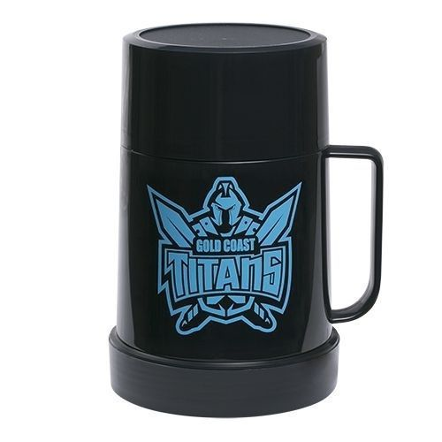 Licensed NRL Plastic Thermos Team Flask with Cup - Gold Coast Titans