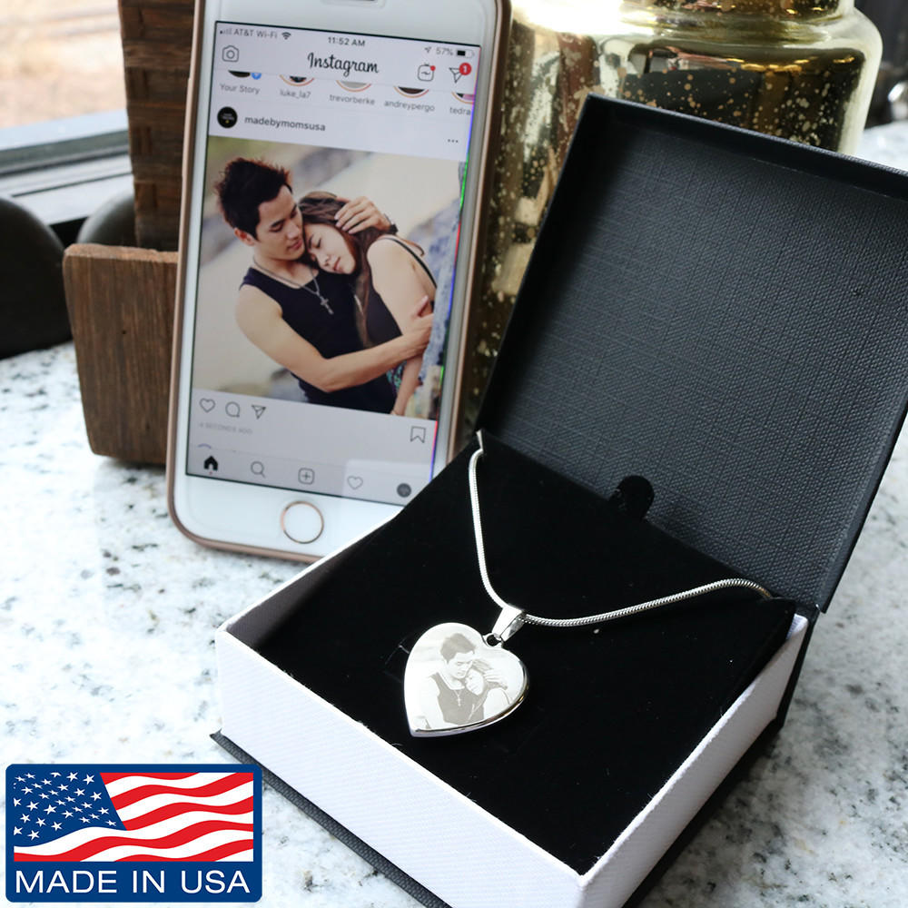 Personalized Gift Photo Etched On A Heart Necklace. Upload Your Favorite Photo