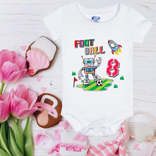 Baby Onesie Cute Football Robot