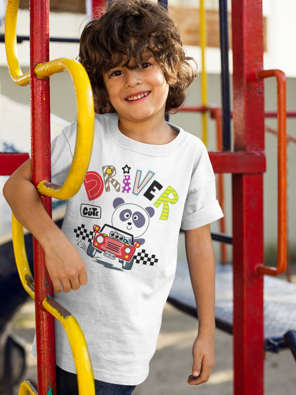 Panda Driver Boys' Cotton T-Shirt