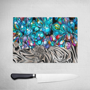 Original Abstract Art on Glass Cutting Board
