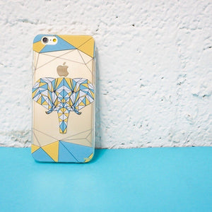 Geometric Elephant Clear Phone Case