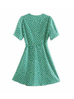 'JANET' v-neck floral printed wrap dress - green