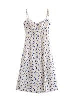 'SABINE' floral high waist midi dress - white