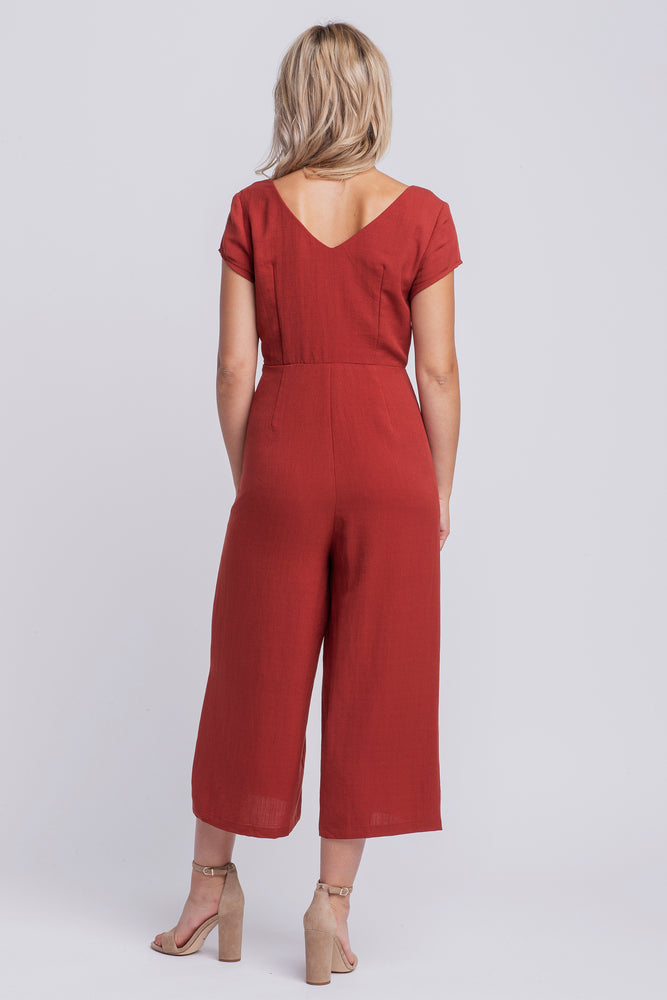 CHARLOTTE - linen short sleeved cropped jumpsuit - rust