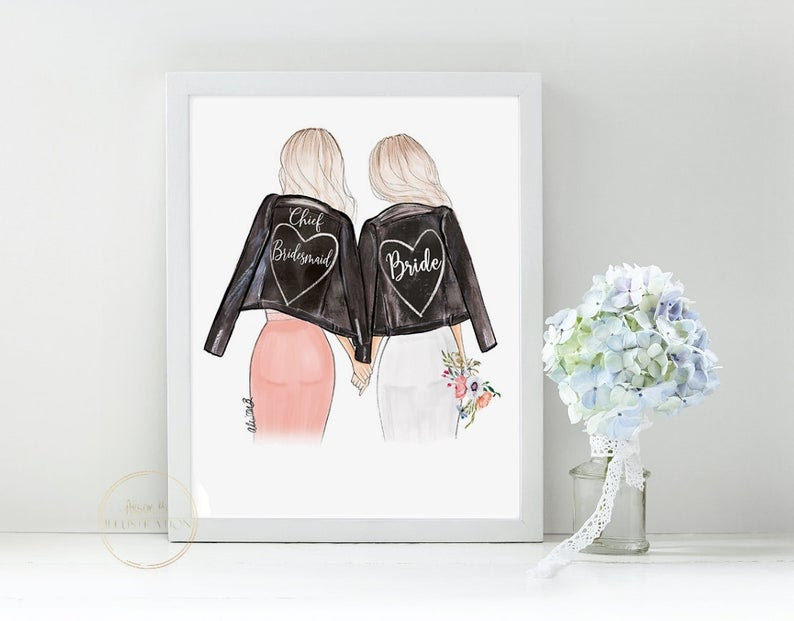 bride and bridesmaid leather jacket art print