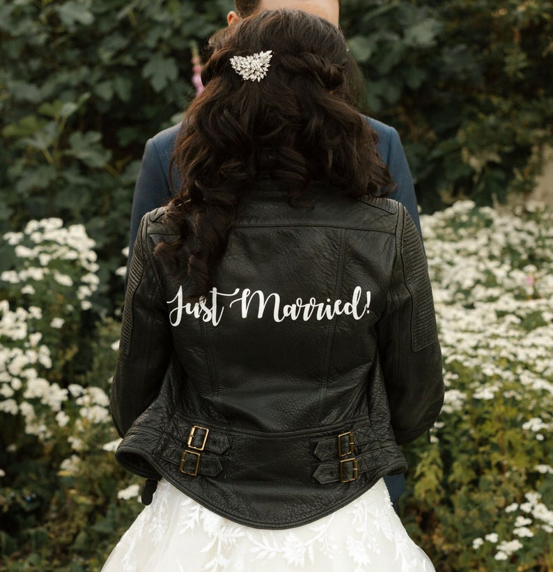 just married leather jacket decal