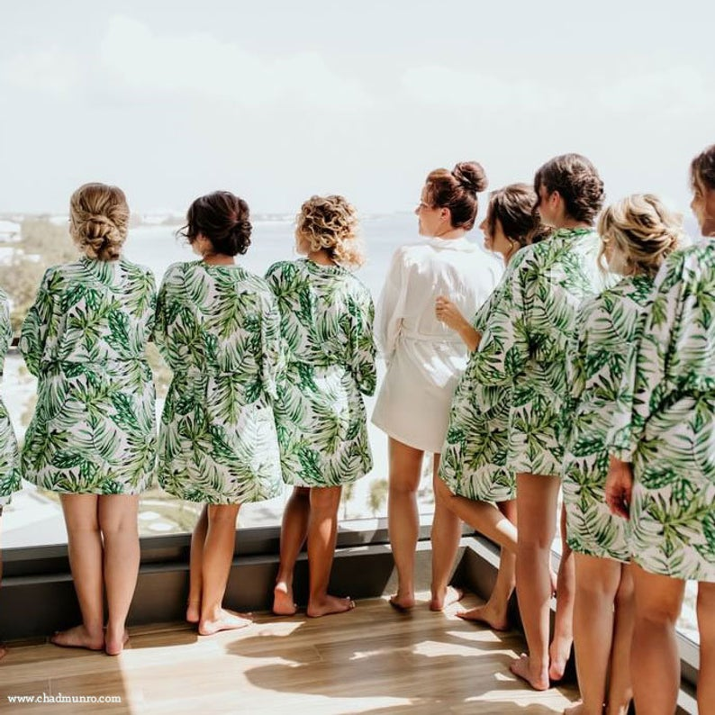 tropical print bridal party robes