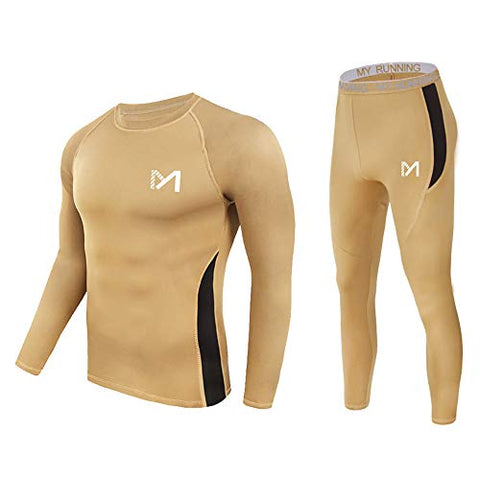 MEETYOO Men's Thermal Underwear Set,  Quick Dry Base Layer Sport Compression Suit for Workout Skiing Running Hiking