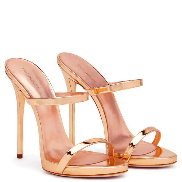 2017 Women Two Straps High Heels Rose Gold Patent Leather Strappy Sandals Ladies Cute Shoes Sexy Mules Stiletto Dress Shoes - MASTYLES ONLINE EXPRESS