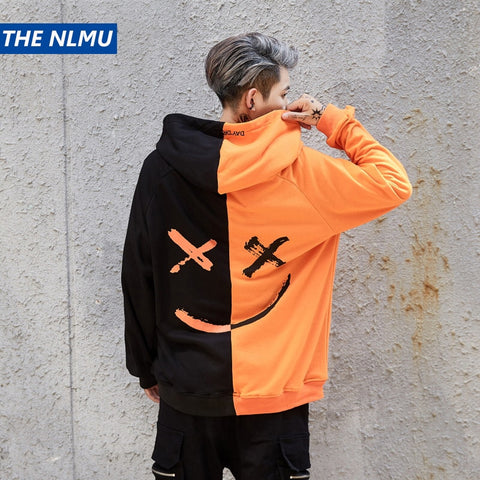 Dropshipping Hoodies Sweatshirts Men Women Color Block Patchwork Smile Print Hoodie Hip Hop Streetwear 2018 Men Clothing W0002