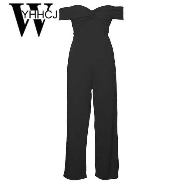 WYHHCJ 2018 sexy off shoulder women jumpsuit solid sleeveless skinny casual pocket summer bodysuit women backless strapless robe