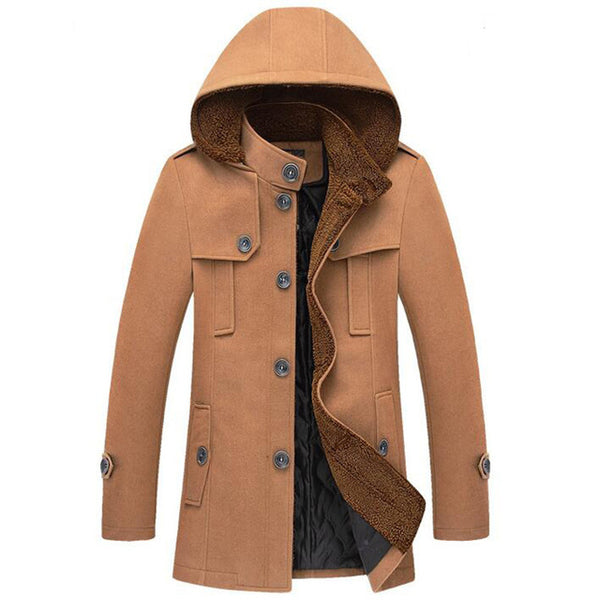 HEE GRAND Men's Windbreaker Hot Sale Autumn Winter Fashion With Hooded Hat Detachable Trench Coat Slim Casual Jacket MWF205
