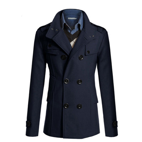 Men's Trench Jacket Business Formal Smart Woolen Jackets Casual Office Slim Male Overcoat 2018 Winter Men Windbreaker Suits Coat