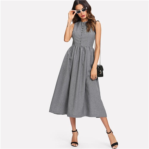 SHEIN Grey Weekend Casual Button Up Marled Shell Natural Waist Round Neck Sleeveless Pocket Dress Summer Women Going Out Dresses