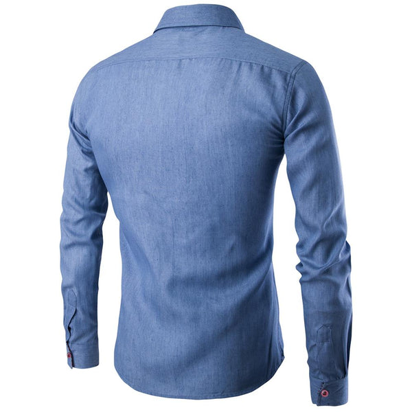 Men Shirt Pocket pu Leather Stitching 2018 New spring Shirt Long Sleeve Slim Fit Camisa Masculina Casual Male Shirts Model