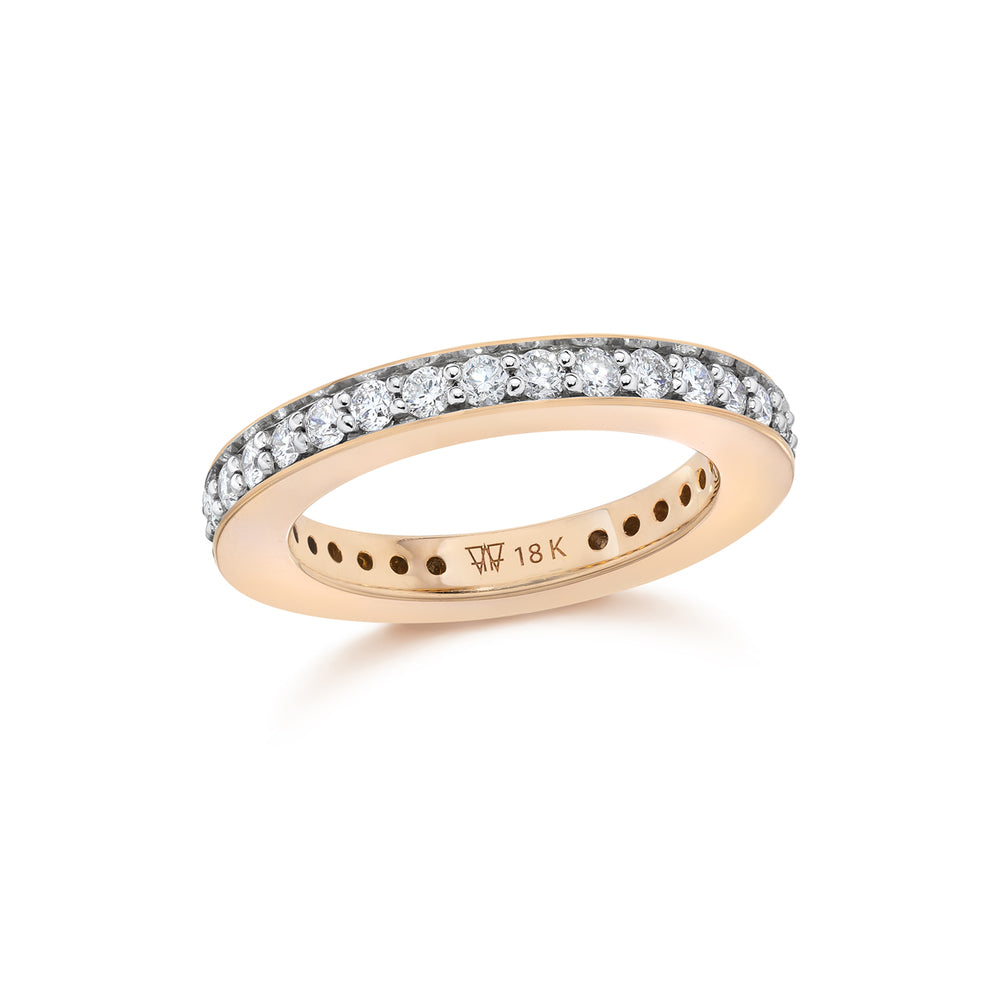 GRANT 18K 3MM DIAMOND CUBED BAND RING