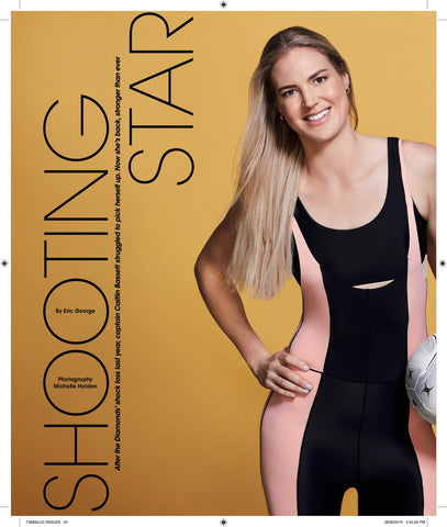 Caitlin Bassett Captain of the Diamonds Netball wear MORE BODY Warrior Transverse bodysuit low side with Pectoralis top