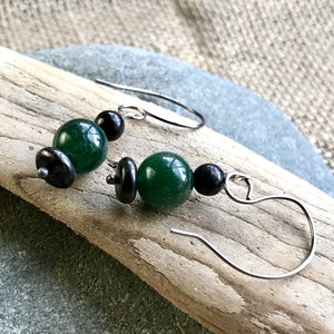 Shungite Earrings, Green Aventurine, EMF Protection, Therapy Grade