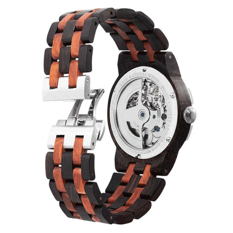 Men's Dual Wheel Automatic Ebony & Rosewood Watch - 2019 Most Popular wooden watches Wilds Wood