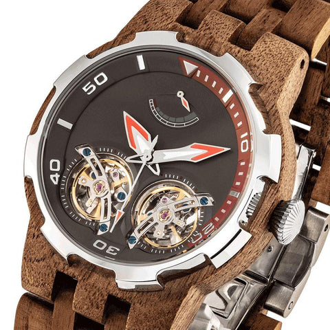 Men's Dual Wheel Automatic Walnut Wood Watch - 2019 Most Popular wooden watches Wilds Wood