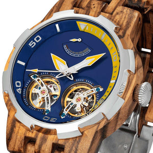 Men's Dual Wheel Automatic Zebra Wood Watch - 2019 Most Popular