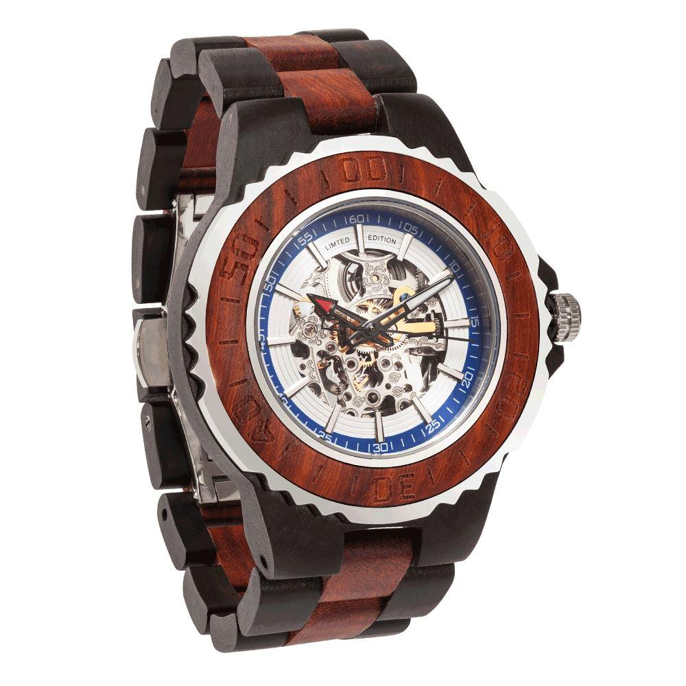 Men's Genuine Automatic Rose Ebony Wooden Watches No Battery Needed wooden watches Wilds Wood