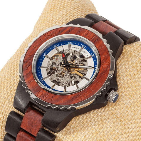 Image of Men's Genuine Automatic Rose Ebony Wooden Watches No Battery Needed wooden watches Wilds Wood