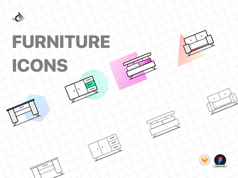 Vector geometric icons for a desk, cabinet, sofa, and bed.