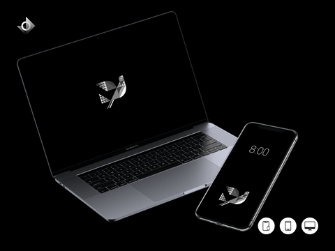 A mockup of a macbook and iphone showing the geometric dove wallpaper.