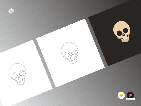 A geometric skull illustration tutorial showing a series of steps it took to achieve the final result.