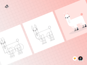 A geometric judgemental alpaca illustration tutorial showing a series of steps it took to achieve the final result.