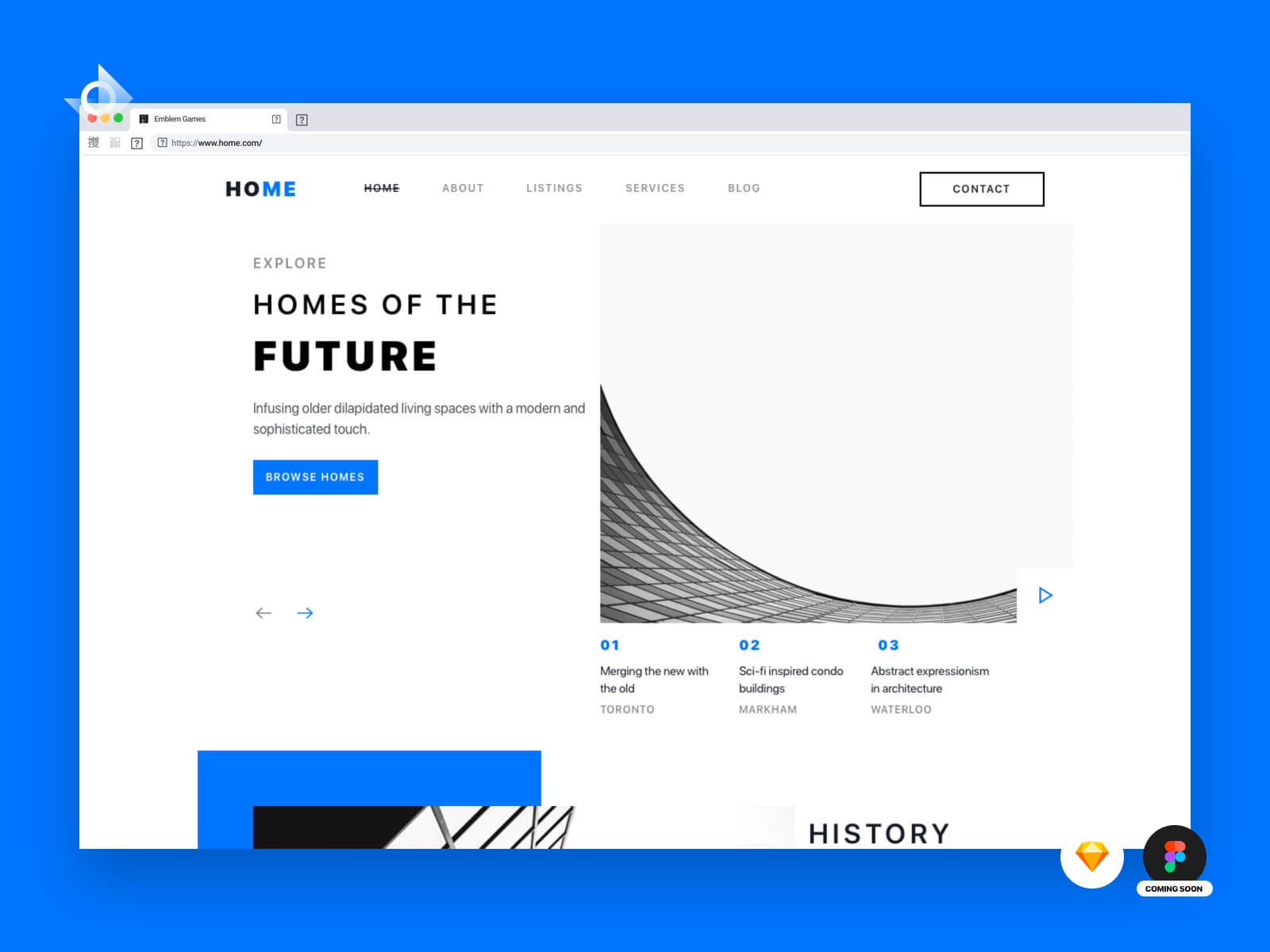 "A desktop web mockup of a modern architecture landing page with the text ""Learn how to make this!""."