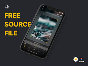 "A mockup of a iPhone X photo editing app on the crop and rotate screen with the text ""Free Source File!"""