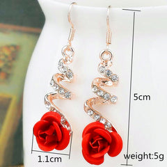 Vintage Red Rose Drop Earrings