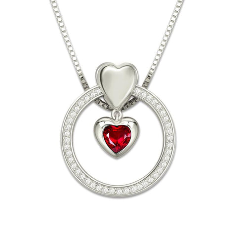 Custom Heart Birthstone Necklace - Looker Gifts
