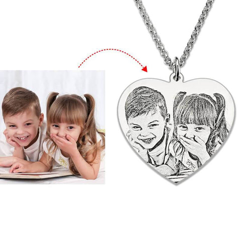 Sterling Silver Photo Heart Necklace - Looker Gifts