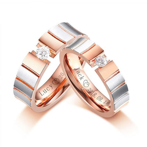 Forever Solid Customized Couple Rings - Looker Gifts