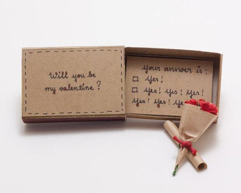 Will You Be My Valentine? Matchbox Card / Jewelry Holder - Looker Gifts
