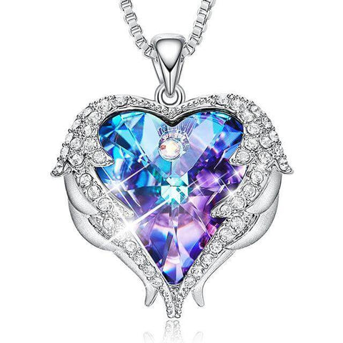 Winged Crystal Heart Necklace - Looker Gifts