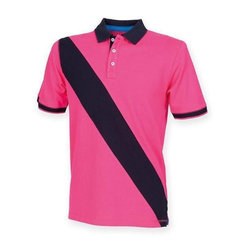 Front Row Diagonal stripe piquǸ polo shirt in Bright Pink/ Navy - 121 Workwear - Personalised Workwear