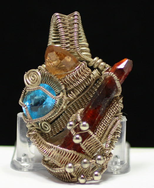 Ruby, Sapphire Wire wrapped Pendant